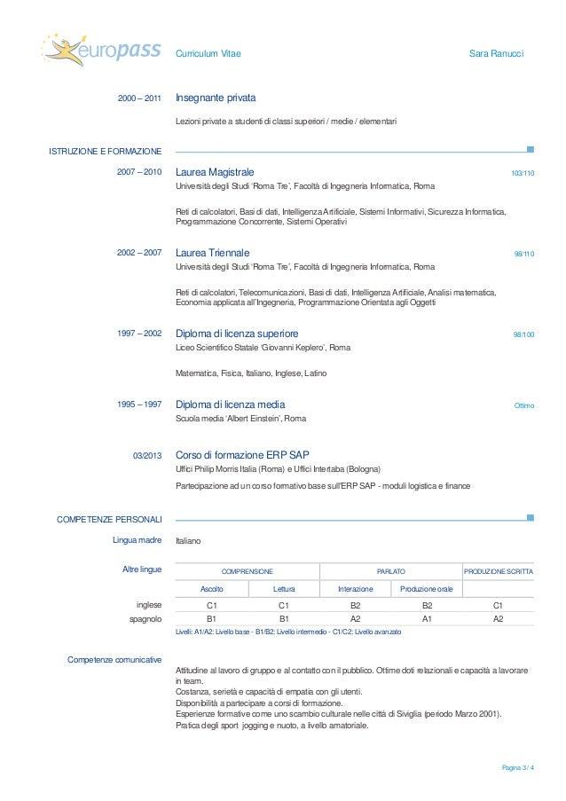 Curriculum Vitae Europeo Esempio Compilato Insegnante Firmakoek