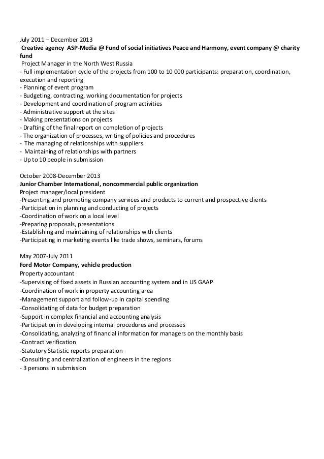 ... Business Events; 2.  Event Manager Resume