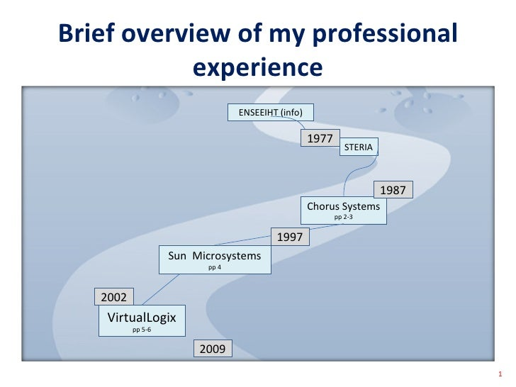 Brief overview of my professional experience 1 2002 2009 ENSEEIHT (info) STERIA Chorus Systems  pp 2-3 VirtualLogix pp 5-6...