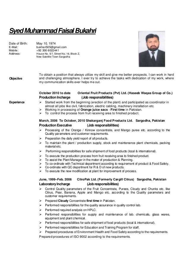 Cv Faisal For Food Science Processing And Technology
