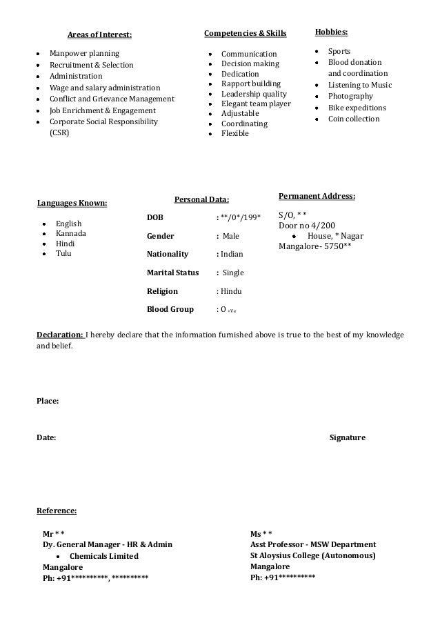 Freshers CV Format