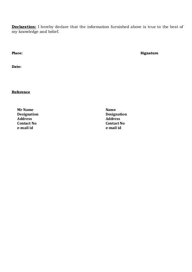Resume declaration format pasoevolist freshers cv format 2 thecheapjerseys Choice Image