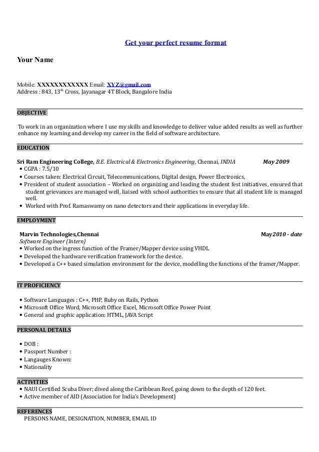 cv format download in ms word 2007