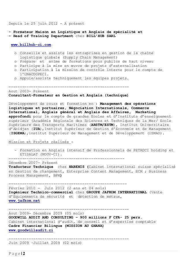 Cv formateur logistique fr - Cabinet de conseil en developpement international ...