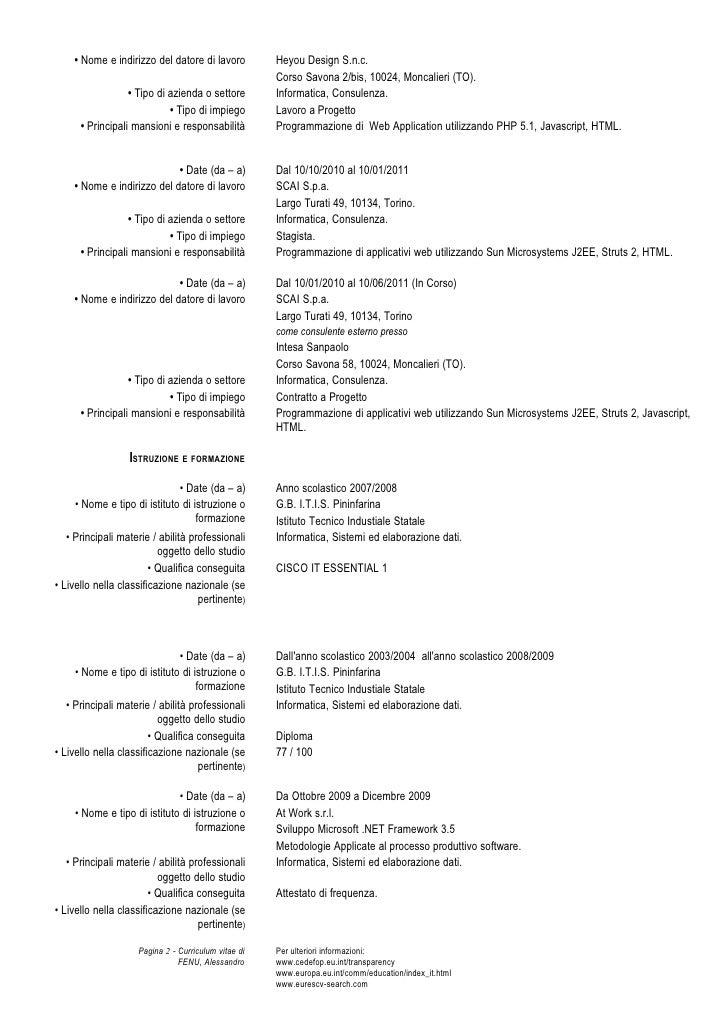 curriculum vitae informatico esempio