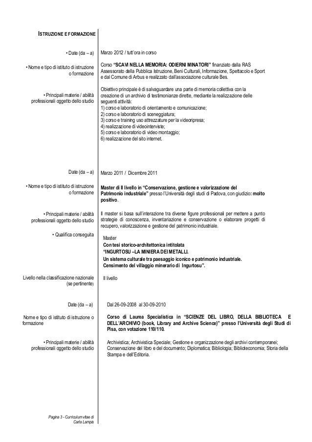 Istruzione E Formazione Curriculum Esempio Firmakoek
