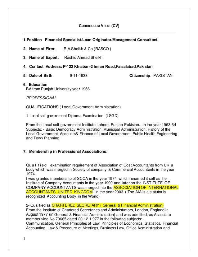 Cv Format Rashid Ahmad Sheikh Protected