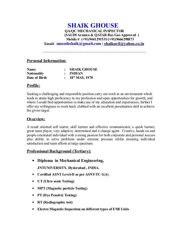 Elegant SHAIK GHOUSE QA/QC MECHANICAL INSPECTOR (SAUDI Aramco U0026 QATAR Ras Gas  Approved ) ...