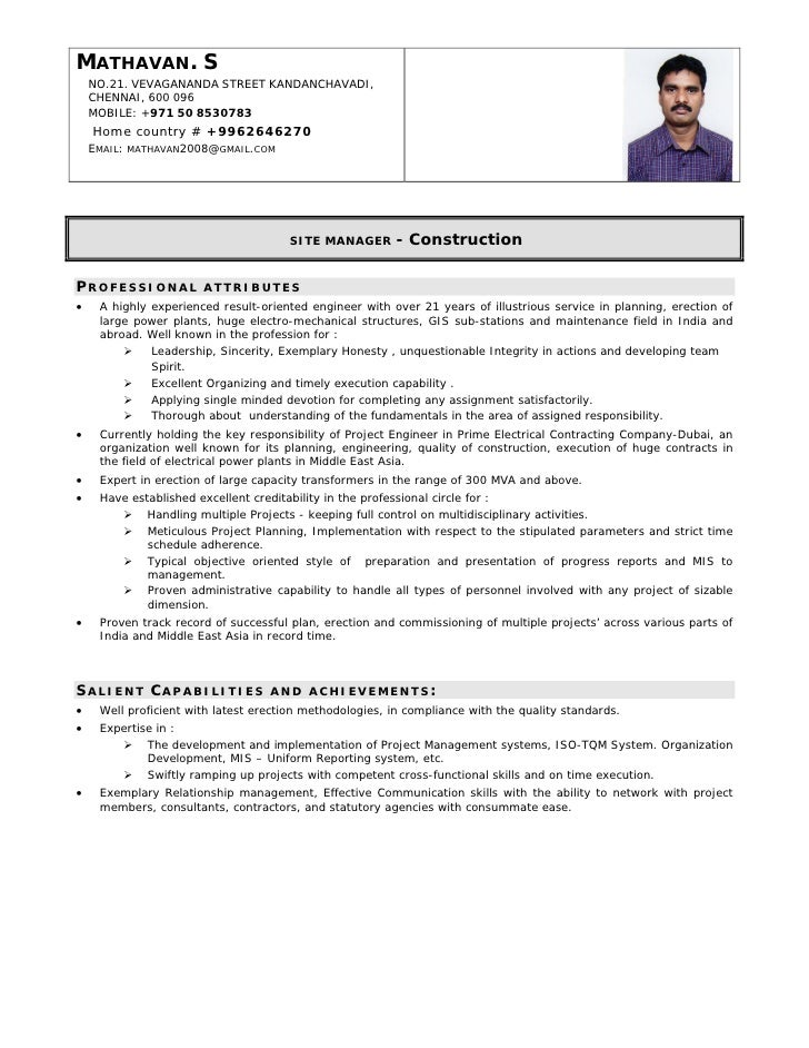 Resume Format For Construction Site Supervisor