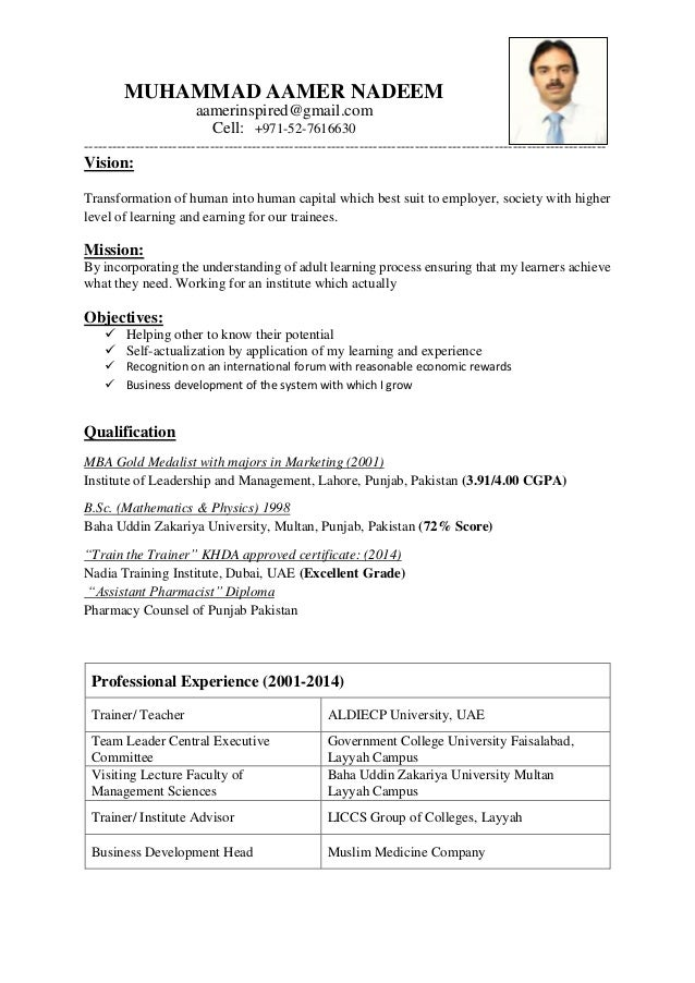 Cv For Trainer And Teacher