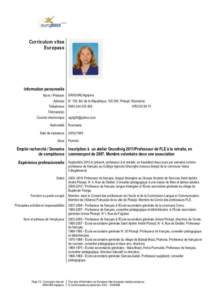 europass cv template francais