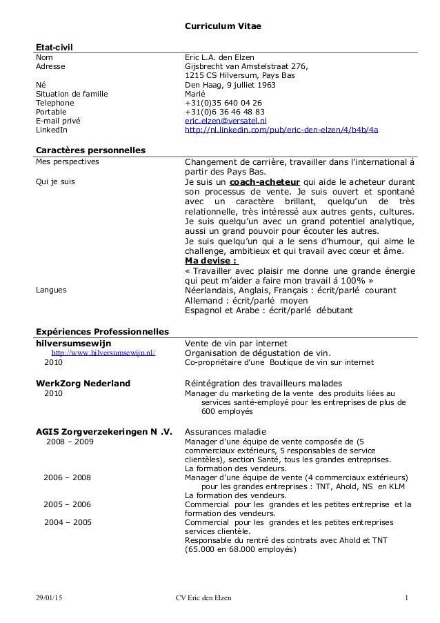 curriculum vitae etat civil nom eric la den elzen adresse gijsbrecht van amstelstraat 276