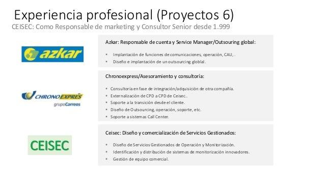 Experiencia profesional (Proyectos 6) CEISEC: Como Responsable de marketing y Consultor Senior desde 1.999 Azkar: Responsa...
