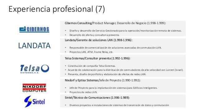 Experiencia profesional (7) Landata/Gerente de soluciones LAN (1.998-1.996):  Responsable de comercialización de solucion...