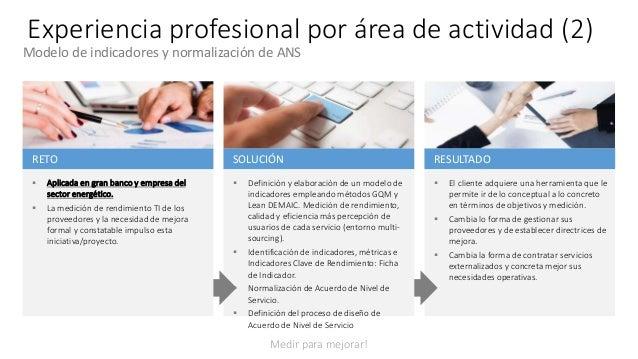 Experiencia profesional por área de actividad (2) RESULTADO  El cliente adquiere una herramienta que le permite ir de lo ...