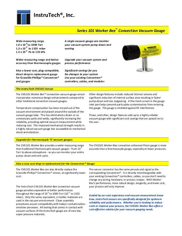 Series 101 Worker Bee Convection Vacuum Gauge Data Sheet