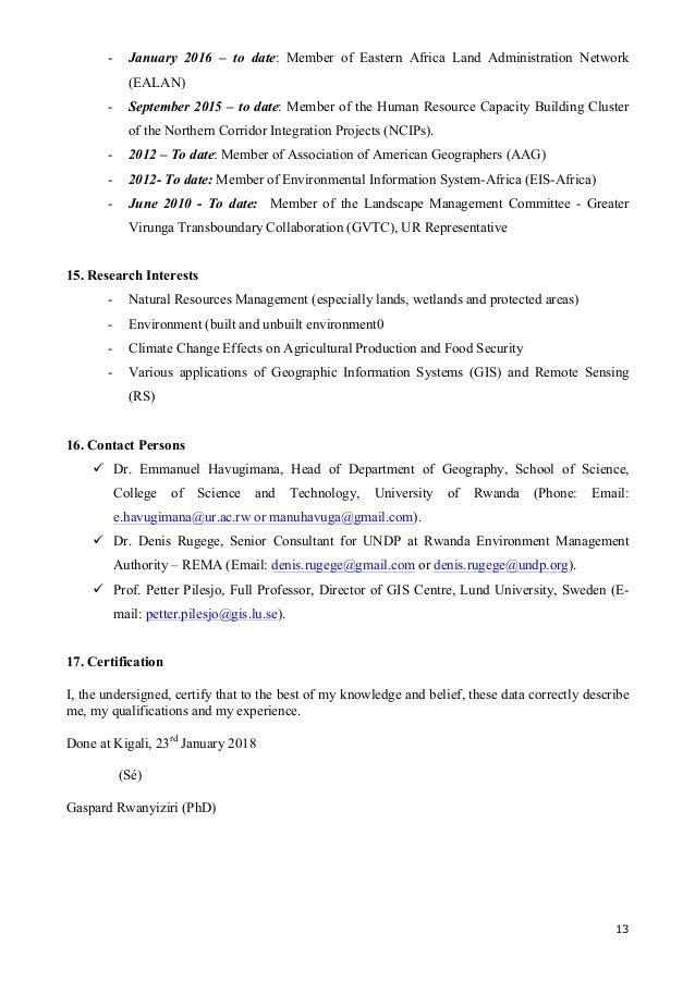Cv– Dr. Gaspard Rwanyiziri 23 Jan 2018