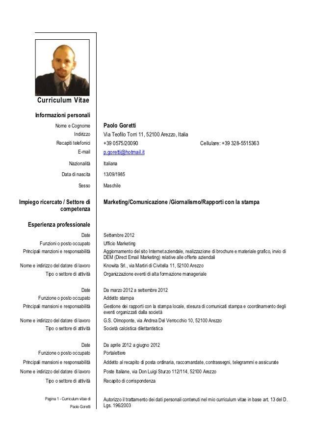 Esempio Curriculum Vitae Europeo Compilato Word Curriculum Vitae