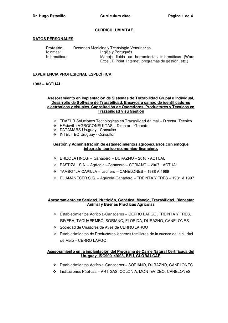 Dr. Hugo Estavillo                    Curriculum vitae                     Página 1 de 4                                  ...
