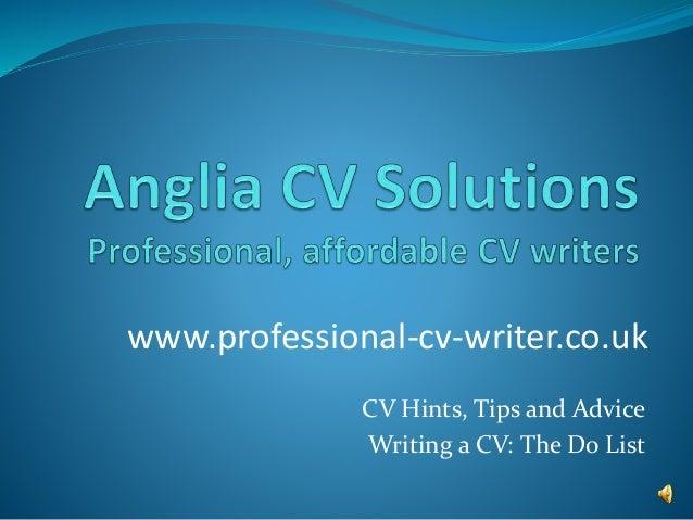 cv writing help and advice