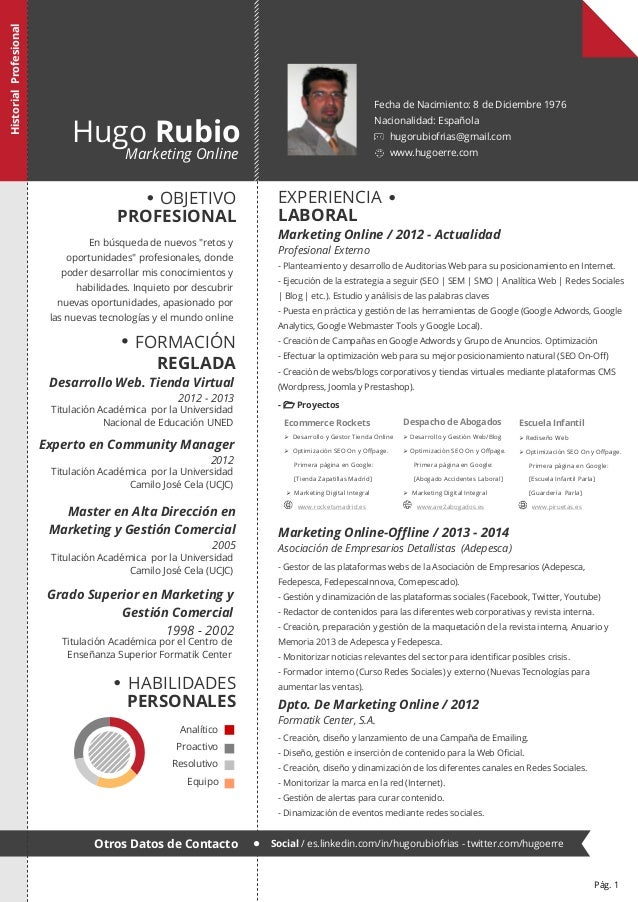 Hugo Rubio  Marketing Online  Fecha de Nacimiento: 8 de Diciembre 1976 Nacionalidad: Española  hugorubiofrias@gmail.com ww...