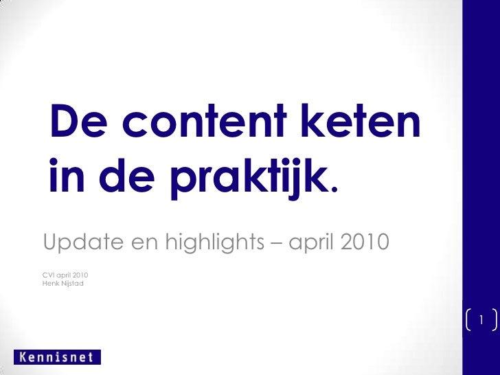 De content keten in de praktijk.<br />Update en highlights – april 2010<br />CVI april 2010<br />Henk Nijstad<br />1<br />