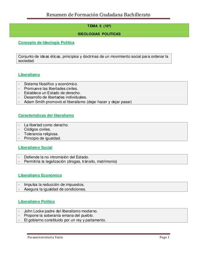 Resumen de Formación Ciudadana Bachillerato Parauniversitaria Yunis Page 1 TEMA 5 (10º) IDEOLOGIAS POLITICAS Concepto de I...