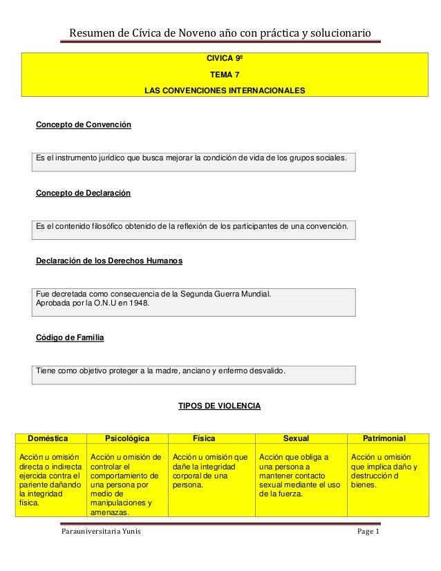 Resumen de Cívica de Noveno año con práctica y solucionario                                                      CIVICA 9º...