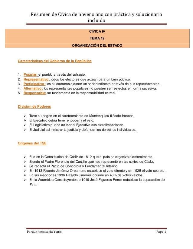 Resumen de Cívica de noveno año con práctica y solucionario                                    incluido                   ...