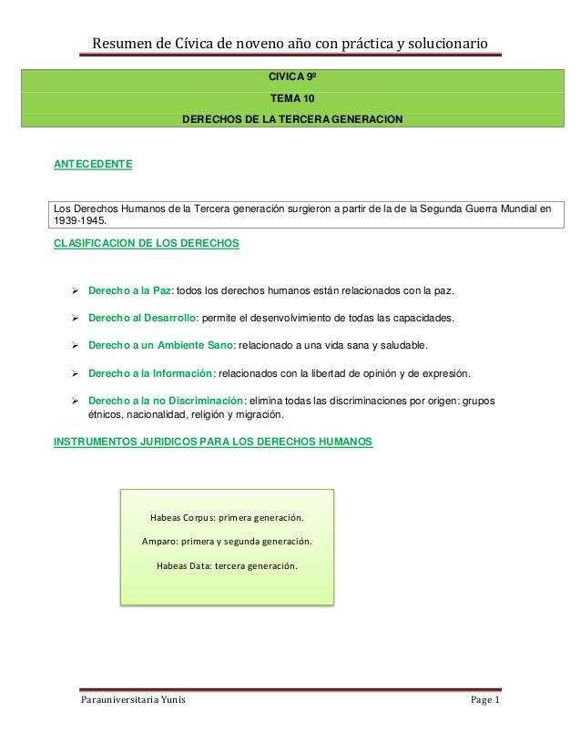 Resumen de Cívica de noveno año con práctica y solucionario                                              CIVICA 9º        ...