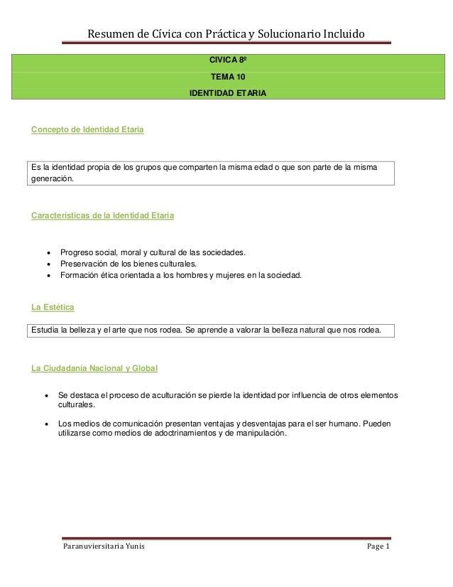 Resumen de Cívica con Práctica y Solucionario Incluido                                                 CIVICA 8º          ...