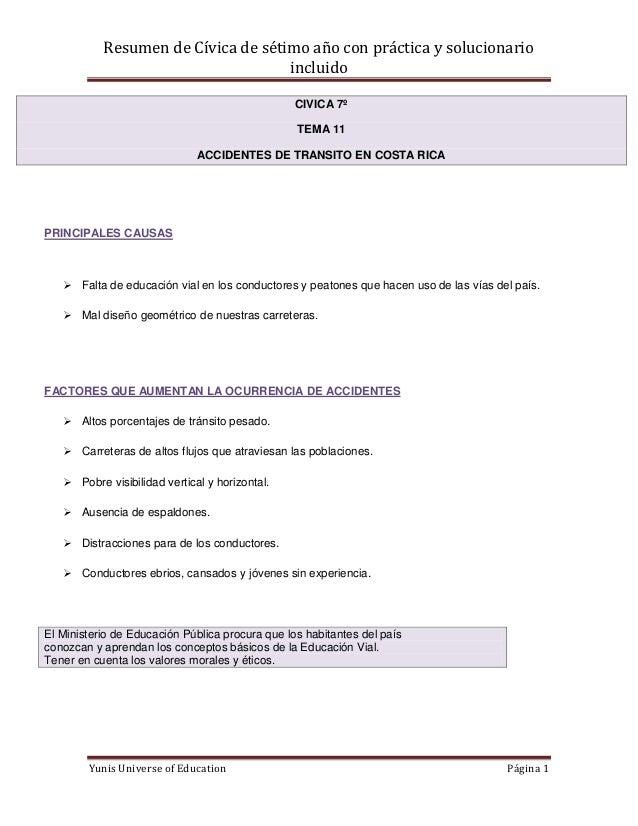 Resumen de Cívica de sétimo año con práctica y solucionario                                    incluido                   ...