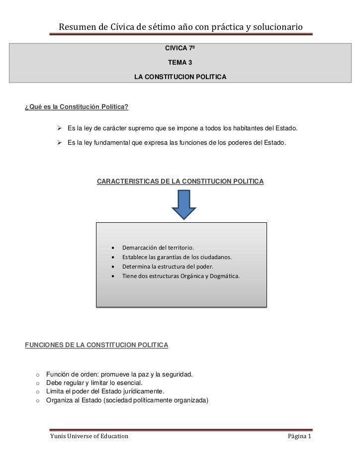 Resumen de Cívica de sétimo año con práctica y solucionario                                                CIVICA 7º      ...