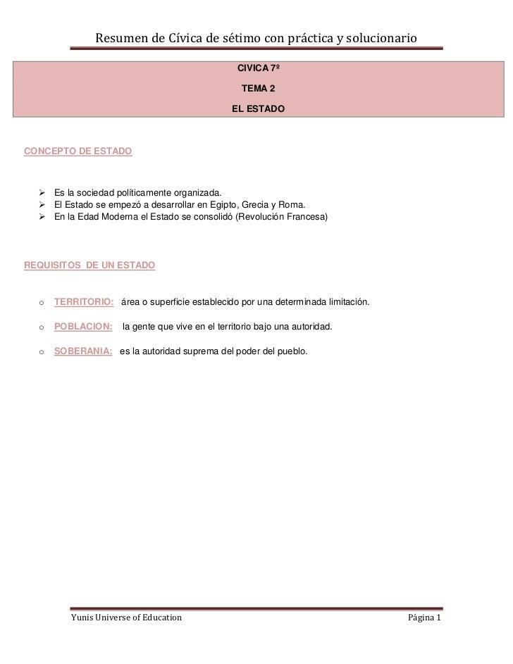 Resumen de Cívica de sétimo con práctica y solucionario                                                  CIVICA 7º        ...