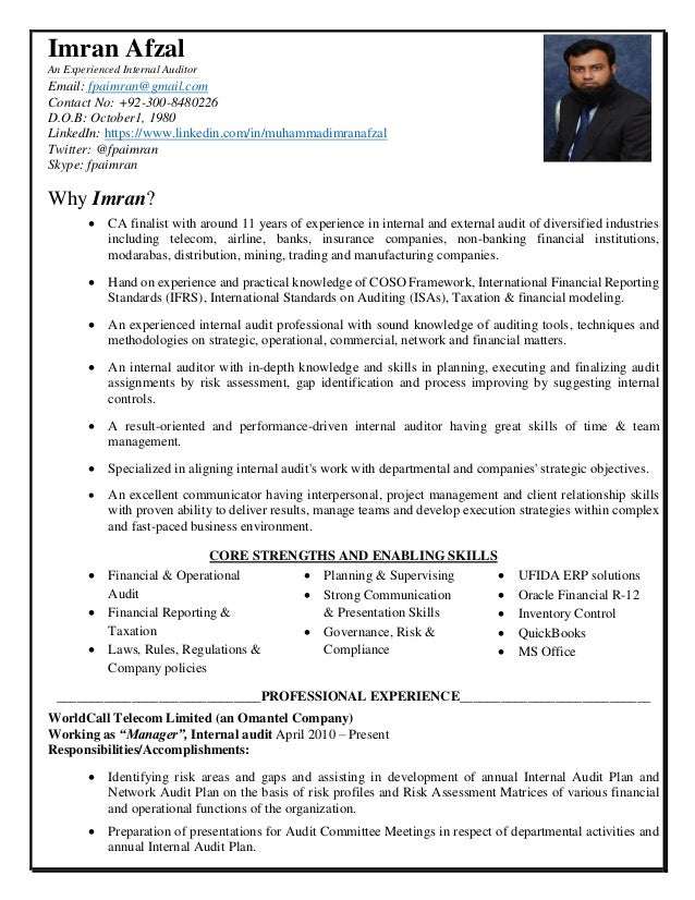 Cv Imran Afzal Manager Internal Audit