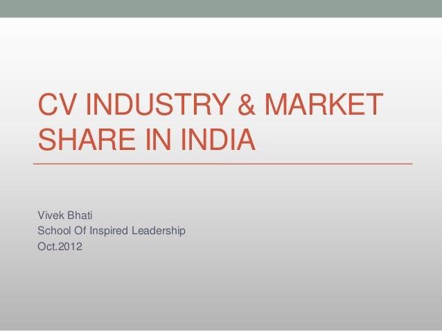 CV Industry Market Share In India Oct 2012