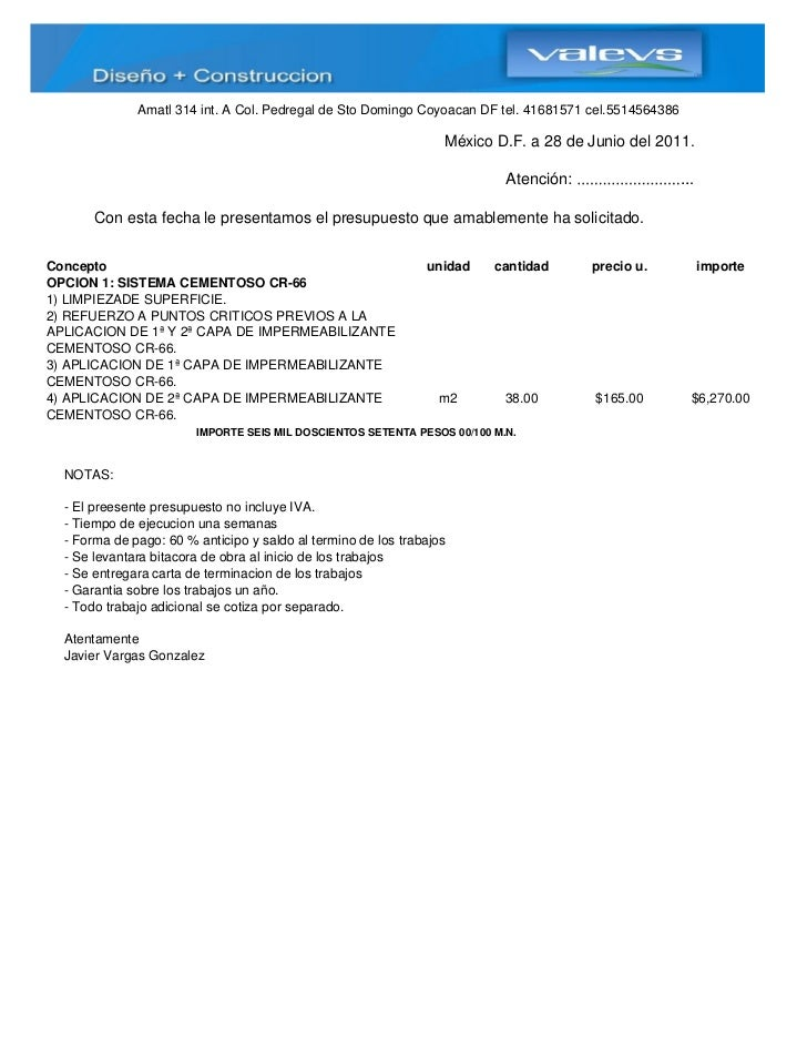 Presupuesto de impermeabilizacion for Hacer presupuesto de construccion