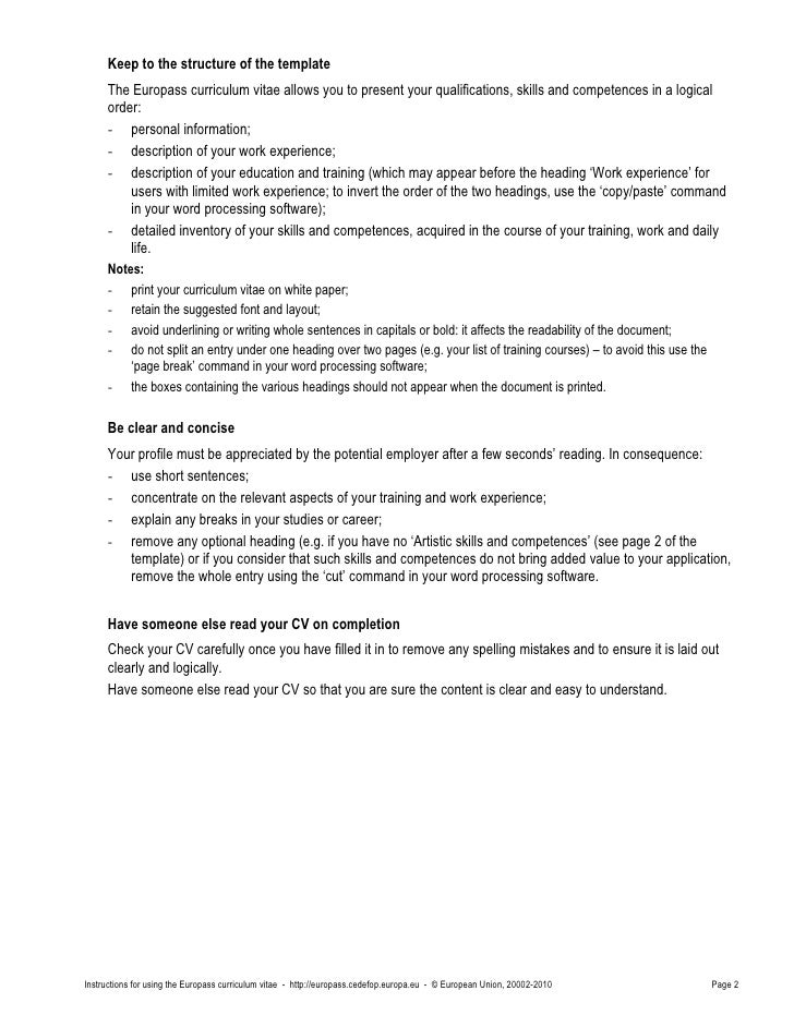 Cv instructions 2 keep to the structure of the template the europass curriculum vitae yelopaper