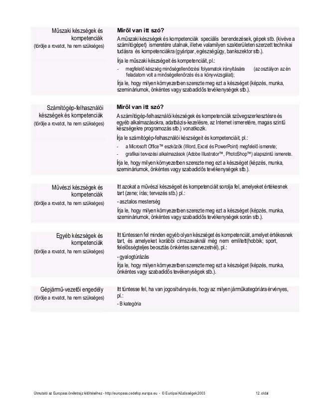 önéletrajz számítógép-felhasználói készségek és kompetenciák Europass Önéletrajz Minta Letöltés önéletrajz számítógép-felhasználói készségek és kompetenciák