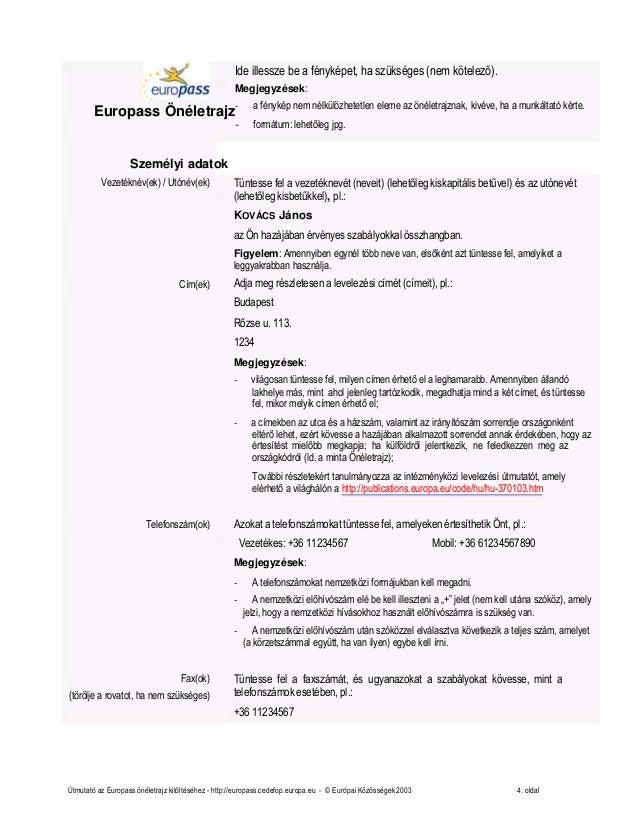 europass önéletrajz minta angol Europass Önéletrajz Minta Letöltés europass önéletrajz minta angol