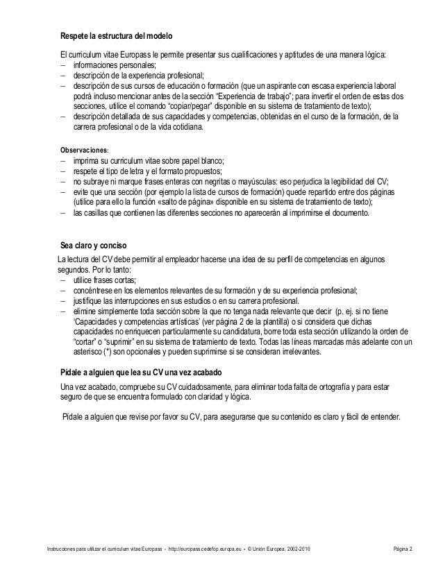 cv instructions