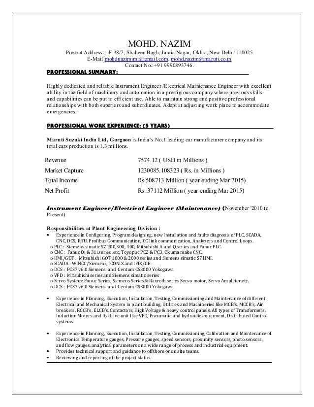 electrical maintenance engineer cv