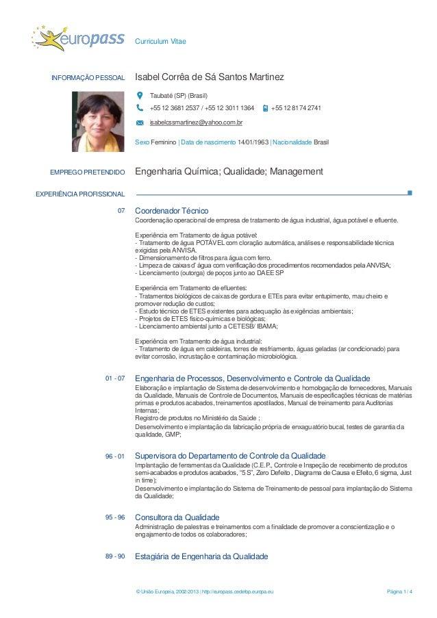 Curriculum Vitae© União Europeia, 2002-2013 | http://europass.cedefop.europa.eu Página 1 / 4INFORMAÇÃO PESSOAL Isabel Corr...