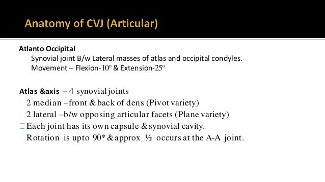 Atlanto Occipital Synovial joint B/w Lateral masses of atlas and occipital condyles. Movement – Flexion-10° & Extension-25...