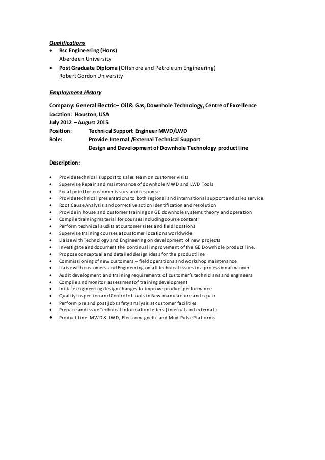 field engineer mwd 1984 1989 thailand 2 qualifications bsc engineering - Mwd Field Engineer Sample Resume