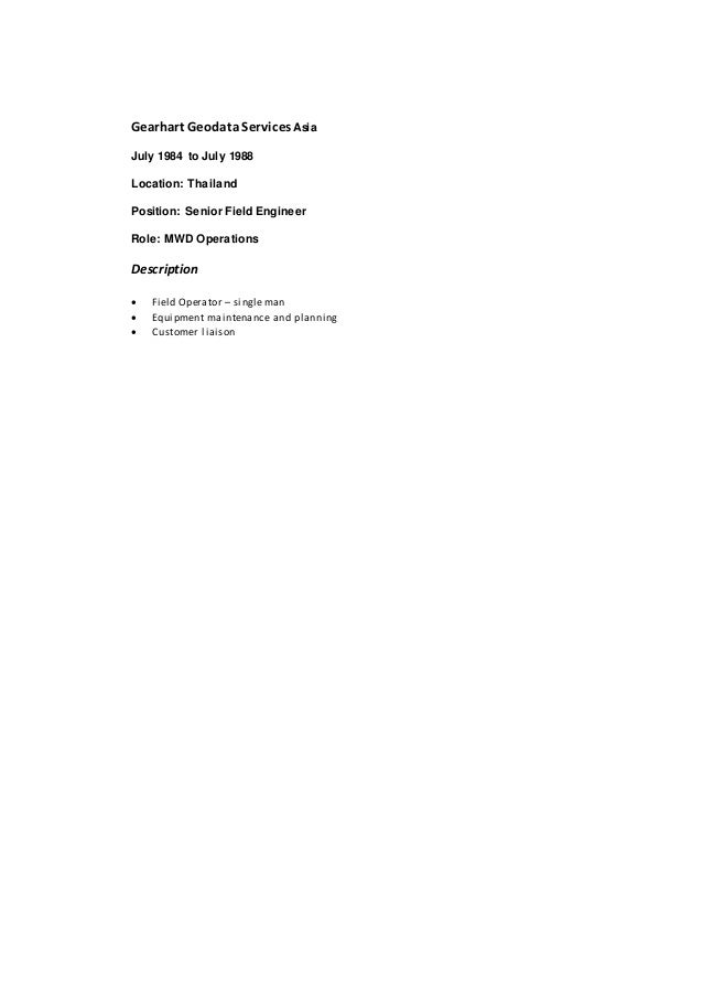 manufacture of drillingsystems 5 - Mwd Field Engineer Sample Resume