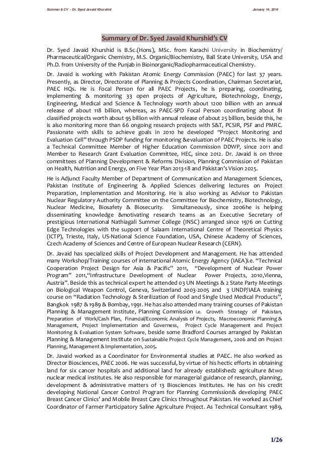 Summar & CV - Dr. Syed Javaid Khurshid  January 14, 2014  Summary of Dr. Syed Javaid Khurshid's CV Dr. Syed Javaid Khurshi...