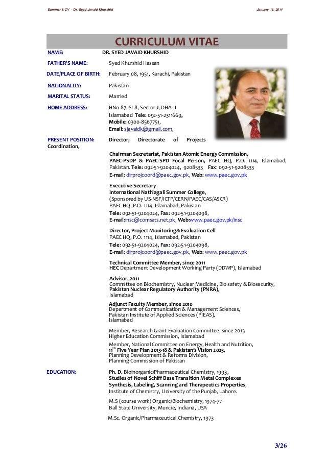 dr  syed javaid khurshid cv  u0026 summary