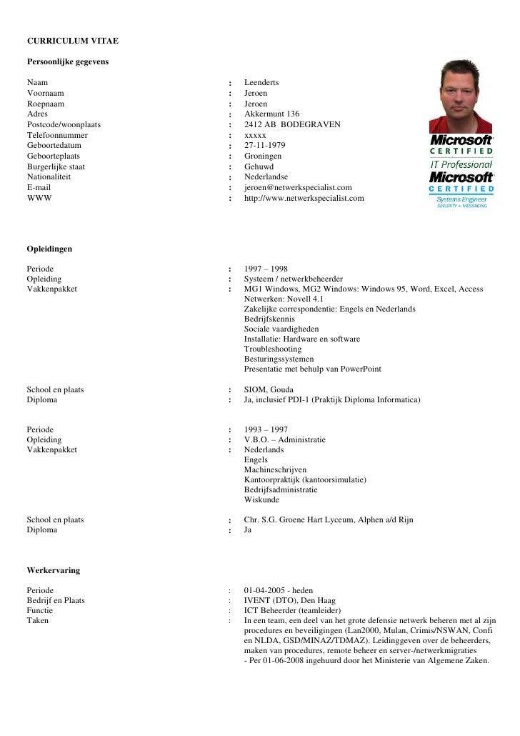 CURRICULUM VITAEPersoonlijke gegevensNaam                    :   LeendertsVoornaam                :   JeroenRoepnaam      ...