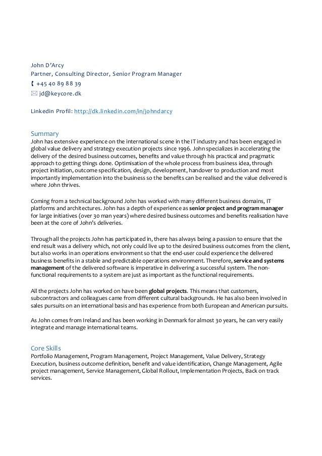 Outstanding Senior Project Manager Lebenslauf 1 Frieze - FORTSETZUNG ...